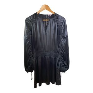 PARKER Ruched Sleeves Silk Dress Black Size Small